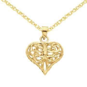 14K Yellow Gold Diamond Cut Filgree Fleur-de-lis Heart Pendant with 18-inch Cable Rope Chain by Versil