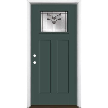 Masonite Frontier 36-in x 80-in Fiberglass Craftsman Right-Hand Inswing Evergreen Painted Prehung Single Front Door with Brickmould