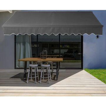 ALEKO 12'x10' Motorized Black Frame Retractable Home Patio Canopy Awning