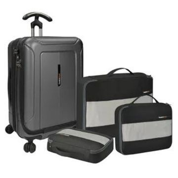 Traveler's Choice Barcelona 22-inch Polycarbonate Carry On Hardside Spinner Suitcase and Packing Cubes Set (Grey)