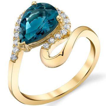 Oravo 14k Yellow Gold Genuine London Blue Topaz Swirl Ring 2 carat