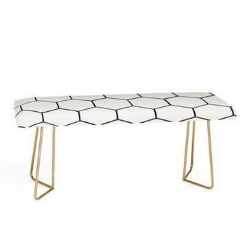 Deny Designs Allyson Johnson Honeycomb Bench in Black/White