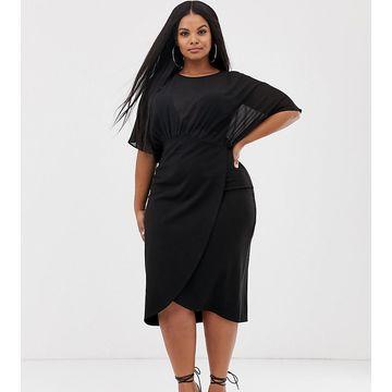 ASOS DESIGN Curve woven mix midi pencil dress