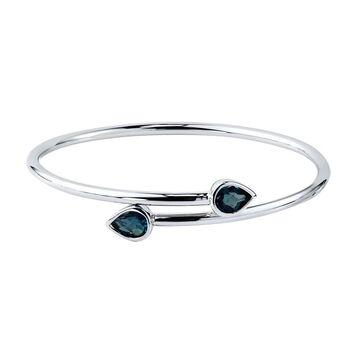 Auriya 2 1/2ct Pear-cut London Blue Topaz Bypass Bangle Bracelet Gold over Silver (White)