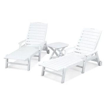 Polywood Nautical 3-Piece Chaise Set, White