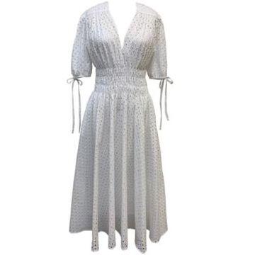 Taylor Petite Cotton Eyelet Midi Dress