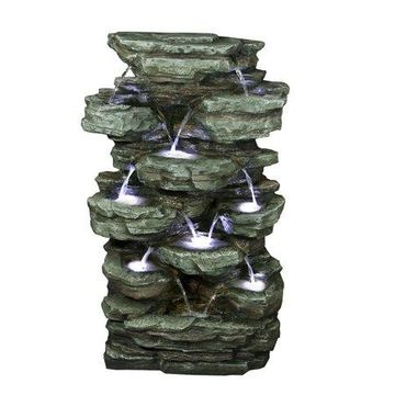 Alpine Tiered Cascading Rock Fountain with LED Lights, 39 Inch Tall
