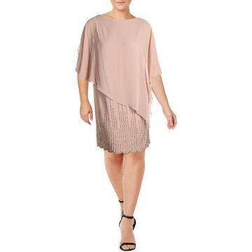 Xscape Womens Plus Chiffon Scalloped Cocktail Dress