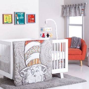 Trend Lab Dr. Seuss Peek-a-Boo Cat in the Hat 4-Piece Crib Bedding Set
