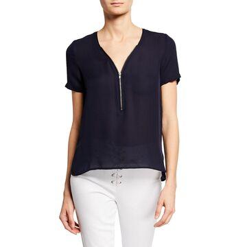 Zip-Front Short-Sleeve Silk Top