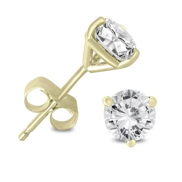 Marquee Jewels 14K Yellow Gold 1/4ct TDW AGS Certified Martini Set Round Diamond Solitaire Earrings (K-L, I2-I3) (Yellow)