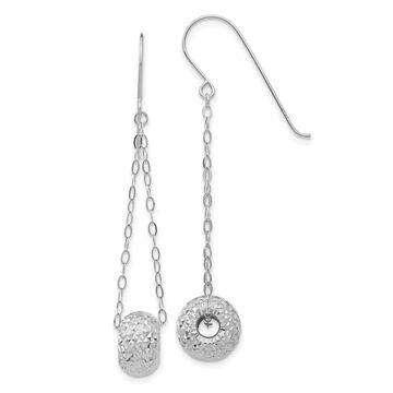 14K White Gold Chain with Diamond Cut Puff Donut Bead Earrings by Versil (White)