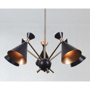 Draper 5-light Chandelier - Matte Black with Antique Brass