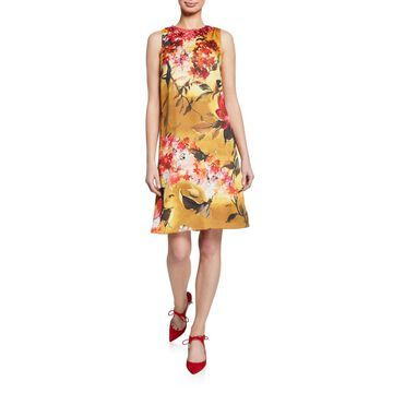 Floral-Print Beaded-Neck Sleeveless A-Line Dress
