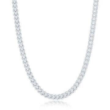 La Preciosa 925 Sterling Silver Italian High Polished Rhodium Plated 4mm Franco 120 Gauge 20  , 22  , 24   Chain Necklace (24 Inch)