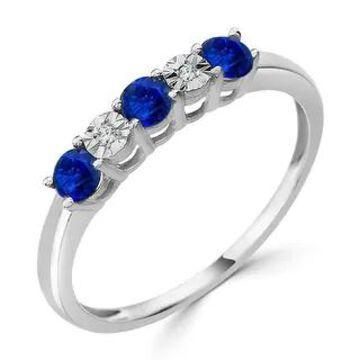 Auriya 10k Gold 1/3ctw 5 Stone Blue Sapphire Gem and Diamond Wedding Band (White - 6.5)