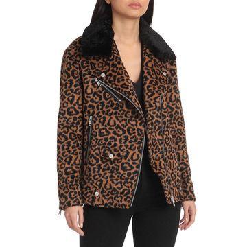 Avec Les Filles Leopard Wool Blend Biker