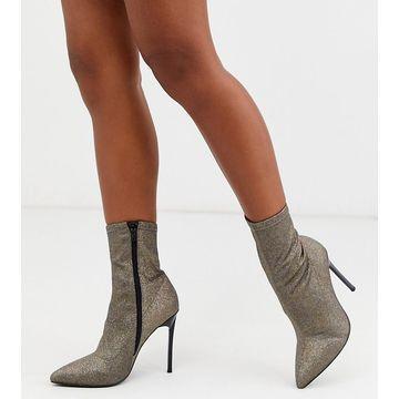 London Rebel wide fit stiletto sock boots in glitter-Silver