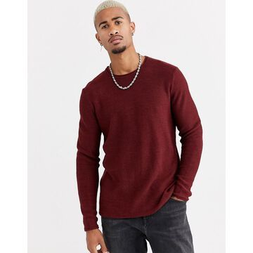 Only & Sons crew neck knitted sweater in dark red