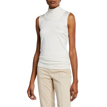 Silk-Blend Blouse with Removable High Neck