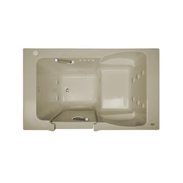 Jacuzzi Finestra 60-in Almond Acrylic Rectangular Right-Hand Drain Walk-In Whirlpool Bathtub and Air Bath