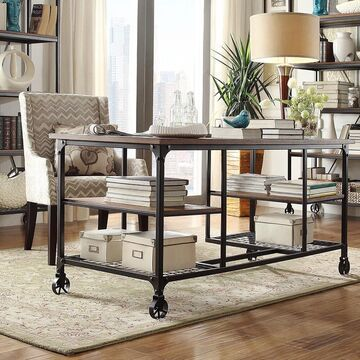 Nelson Industrial Modern Rustic Storage Desk by iNSPIRE Q Classic (Brown)