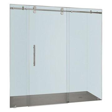 Aston Langham Completely Frameless Sliding Shower Door, Stainless Steel, 72