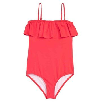 Billabong Red Girls Size 14 Ruffle One Piece Sol Searcher Swimsuit