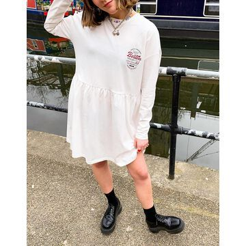 Noisy May exclusive jersey smock dress with collegiate motif in white