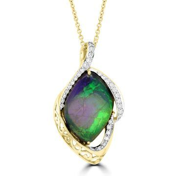La Vita Vital 14k Yellow Gold 7 1/3ct TGW Ammolite and 1/4ct TDW Diamond Necklace
