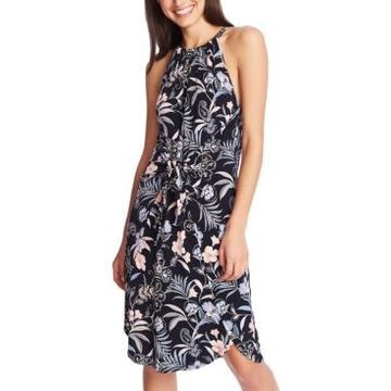 1.state Floral-Print Tie-Front Dress