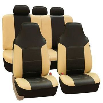 FH Group Royal PU Leather Full Set Airbag Compatible and Split Bench Car Seat Covers, Beige and Black