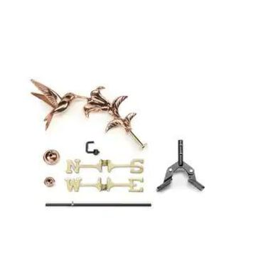 Hummingbird Pure Copper Garden Weathervane with Garden Pole by Good Directions (Roof Mount)
