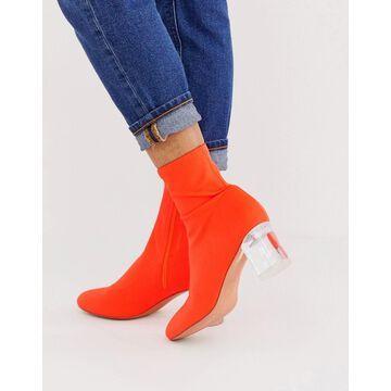 London Rebel neoprene sock boots in neon orange