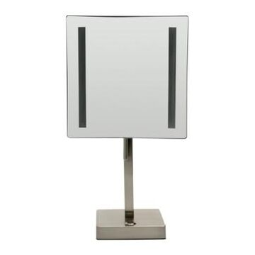 Alfi brand Brushed Nickel Tabletop Square 5x Magnifying Cosmetic Mirror with Light Bedding