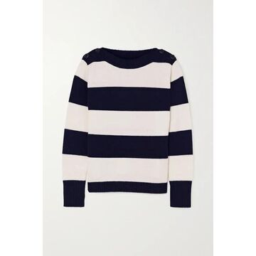 Max Mara - Button-embellished Striped Wool And Cashmere-blend Sweater - Ivory
