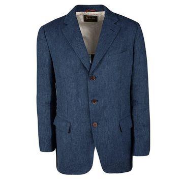 Loro Piana Blue Linen Tailored Blazer L