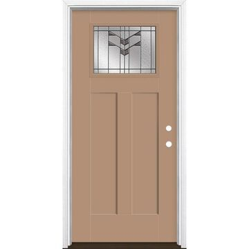 Masonite Frontier 36-in x 80-in Fiberglass Craftsman Left-Hand Inswing Warm Wheat Painted Prehung Single Front Door with Brickmould in Brown