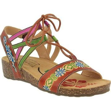 L'Artiste by Spring Step Women's Loma Wedge Sandal Camel Leather
