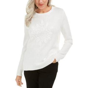 Karen Scott Snowflake Applique Sweater, Created For Macy's