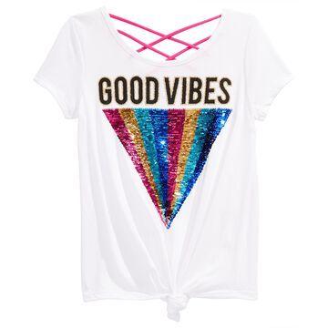 Big Girls Good Vibes Reversible Sequin Top