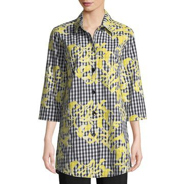 Petite Hello Yellow Embroidered Button-Front Gingham Tunic