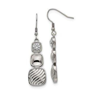 Primal Steel Stainless Steel Polished CZ Square Shepherd Hook Earrings