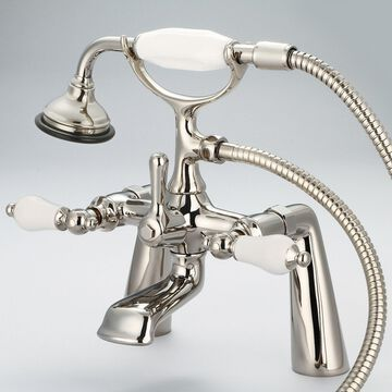 Water Creation Vintage Classic 7-inch Spread Deck Mount Tub Faucet with Handheld Shower in Polished Nickel PVD Finish