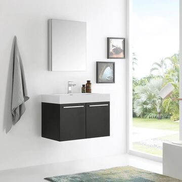 Fresca Senza 30-in Black Single Sink Bathroom Vanity with White Acrylic Top (Faucet Included) | FVN8089BW