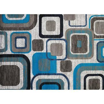 United Weavers Studio Modem Geometric Rug, Turquoise/Blue, 2X7 Ft