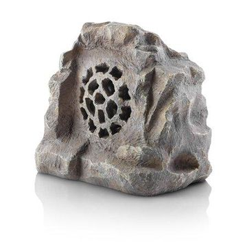 Alpine Corporation Solar-Powered Waterproof Bluetooth Rock Speaker, Gray