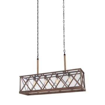 Feiss Lumiere 4-Light Dark Weathered Oak/Oil Rubbed Bronze Transitional Chandelier