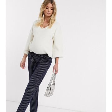 Mamalicious Maternity tailored pants with tie waist in navy pinstripe-Multi