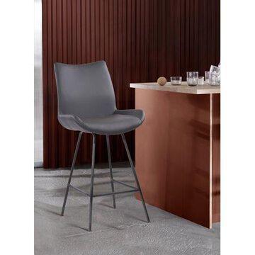 "Armen Living Coronado Contemporary 26"" Counter Barstool-Brushed Grey Coated Finish/Grey Faux Leather"